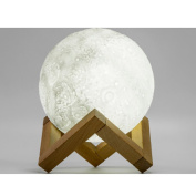 Moon Lamp, outgeek Desk Decor Lamp Creative USB Rechargeable 3D Moon Night Light with Wooden Holder