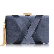 Flada Women and Ladies Flannel Evening bags Wedding Clutches Handbags with Tassel Pendant Grey