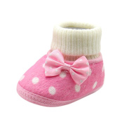 Baby Shoes Girls 0-12 Months Mingfa Winter Cute Bowknot Soft Sole Newborn Toddler Boots First Walking Shoe
