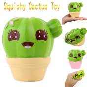 Hunpta Cactus Cream Scented Squishy Slow Rising Squeeze Strap Kids Toy