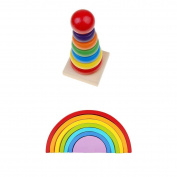 MagiDeal 2 SetsKids Developmental Wooden Stacking Rainbow & Rainbow Tower Building Blocks Toddler/Baby Preschool Toy Gift
