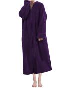 Sue & Joe Women's Full Zip Dressing Gown Shawl Collar Calf Length Fleece Housecoat