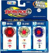 Beyblade Metal Fusion Earth Eagle, Evil Gemios & Dark Bull 3-Pack