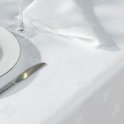 White Egyptian Cotton Ivy Leaf Damask Tablecloths - Various Sizes