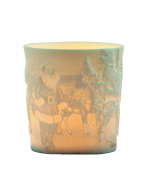 """Plaristo Kerzenfarm """"Father Christmas"""" Votive Porcelain Tealight Cup, White, 6 cm High"""
