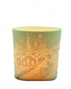 "Plaristo Kerzenfarm ""Sleigh Ride"" Votive Porcelain Tealight Cup, White, 6 cm High"