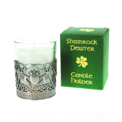 Shamrock Pewter Claddagh Designed Candle Holder With Vanilla Scented Candle