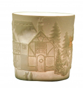 "Plaristo Kerzenfarm ""Frame House"" Votive Porcelain Tealight Cup, White, 6 cm High"