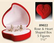 Christmas NATIVITY SET/ Miniature 5 Figures 2.5cm VELVET HEART Gift Box Christmas Gift...
