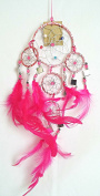 Pink Metallic Dream Catcher with Small Square Mirror Tiles - 9cm Diameter Ring