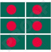 "BANGLADESH Bangladeshi Flag 40mm (1,6"") Mobile, Cell Phone Vinyl Mini Stickers, Decals x6"