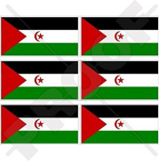 """WESTERN SAHARA Flag North Africa, African 40mm (1,6"""") Mobile Cell Phone Vinyl Mini Stickers, Decals x6"""