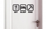 Eat - Sleep - Mine - Kids Bedroom Door Play Room Wall Vinyl Sticker (250x100mm) by Inspired Walls®