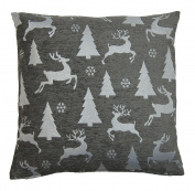 Sparkle Trees & Reindeer Silver Grey Christmas Cushion Cover 45x45cm