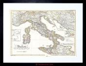 MAP ANTIQUE PERTHES ITALY SARDINIA SICILY FRAMED PRINT F97X3476
