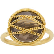 5th & Main 18kt Gold over Sterling Silver Hand-Wrapped Round Smokey Quartz Stone Ring