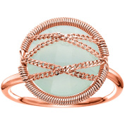 5th & Main Rose Gold over Sterling Silver Hand-Wrapped Round Chalcedony Stone Ring