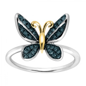 Duet 1/5 ct Blue Diamond Butterfly Ring in Sterling Silver & 14kt Gold