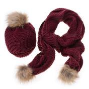 JianFeng Women Hat Girls Knitted Bobble Hat + Pom Pom Scarf Set Warm Winter Christmas Gift