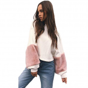 JianFeng Sexy Women Pullover Faux Fur Sleeves Loose Crop Top Sweatshirt