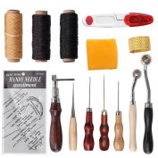 14PCS Sewing Accessories Kits Leather Craft Tool Hand Stitching Sewing Tool for Thread Awl Waxed Thimble