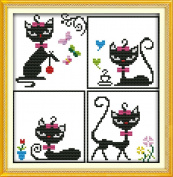 Chreey Black / White Cat Series - Cat Princess Simple for Beginners Cross Stitch Fashion Crafts Home Art Decoration [22x33cm]