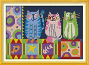 Chreey Cats Series - Abstract Painting Cats Cross Stitch Fashion Crafts Home Art Decoration [34x26cm]