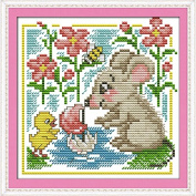 Chreey Cute Mouse Series - The Little Mouse Learning to Swim Cross Stitch Fashion Crafts Home Art Decoration [17x17cm]
