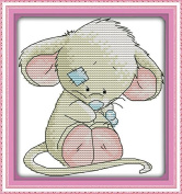 Chreey Cute Mouse Series - A Big-eared Mouse Simple Easy Cross Stitch for Beginner Fashion Crafts Home Art Decoration [16x17cm]