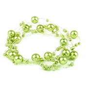 3 Garland decorated with pearls 130 cm green anise