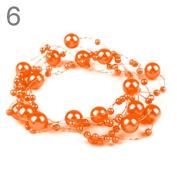 3 Garland decorated with pearls 130 cm bright orange