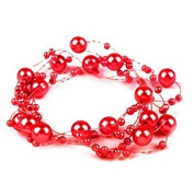 3 Garland decorated with pearls 130 cm red