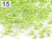 3 Garland decorated with pearls 130 cm light green