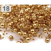 3 Garland decorated with pearls 130 cm golden gold