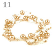 3 Garland decorated with pearls 130 cm light gold