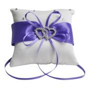 E-Goal 10x10cm Double Heart Crystal Rhinestone Purple Band Satin Mini Wedding Ring Bearer
