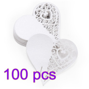 Fendii 100 pcs Table Love Heart Design Wedding Name Place Cards Wine Glass Decoration