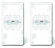 2x10 Handkerchiefs Ornament Wedding Man Wife Happy Tears Church Silver
