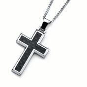 Men's Stainless Steel Cross Pendant Necklace with Carbon Fibre Accent, 60cm