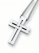 Men's Stainless Steel Woven Cross Pendant Necklace, 60cm