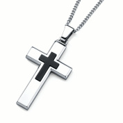 Men's Stainless Steel Cross Pendant Necklace, 60cm Curb Chain