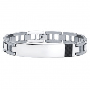 Men's Stainless Steel Bracelet With Carbon Fibre Accent, 20cm - 1.3cm