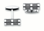 Men's Stainless Steel Cuff Links with Mesh Surface Accent
