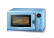 Severin MW 7894 Retro microwave with grill function 2-in-1/36 cm / 700 W / 20 L / 125th Anniversary Edition / blue-chrome
