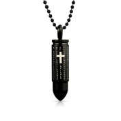 Lords Prayer Black Bullet Pendant Stainless Steel Necklace 50cm