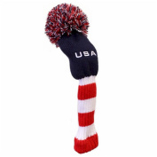 USA American Patriot Classic Knit Pom Pom Style Golf Fairway and Hybrid Headcover