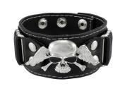 Winged Skull Black Leather Wristband Biker Punk