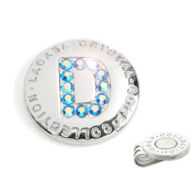 The Elixir Golf Hand-Craft Australia Crystal Golf Ball Marker with Hat Clip, Initial 'D'