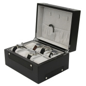 Sporty Valet Black Matte Finish with Sleek Carbon Fibre Accents Keeps Watches Jewellery Organised