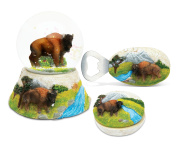 Puzzled Buffalo Resin Stone Collection Jewellery Box,snow Globe and Magnet Bott